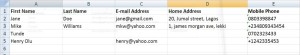 Gmail contact excel format