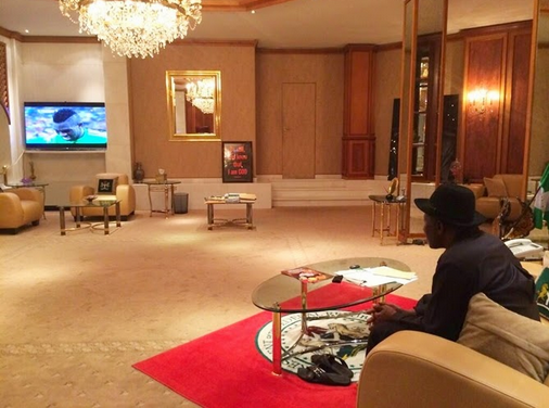 GEJ watching nigeria vs bosnia